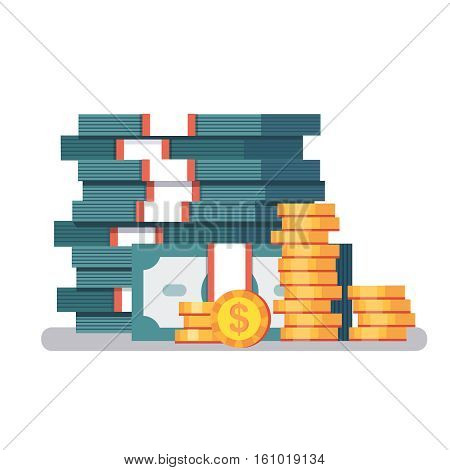 Big stacked pile of cash and some gold coins. Currency straps holding dollar bills money. Modern colorful flat style vector illustration isolated on white background.