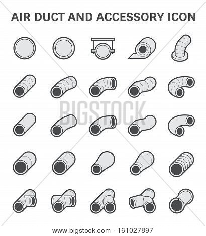 Vector icon of air duct pipe fitting for air conditioner and HVAC system.