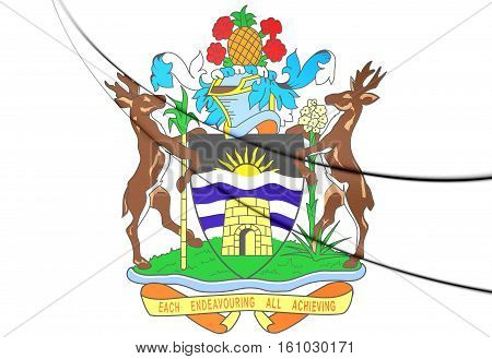 Antigua And Barbuda Coat Of Arms. 3D Illustration.