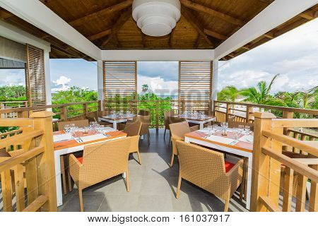 Great amazing view of open air restaurant ready to serve near the beach and ocean