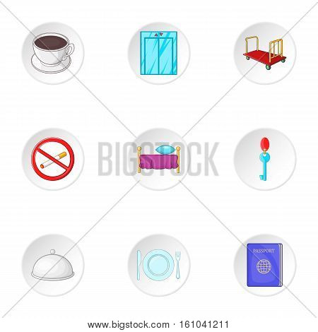 Hostel accommodation icons set. Cartoon illustration of 9 hostel accommodation vector icons for web