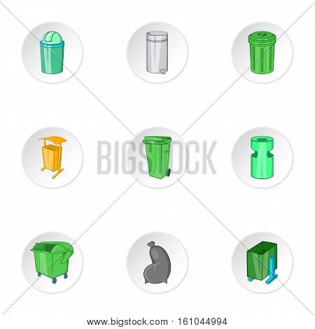 Trash icons set. Cartoon illustration of 9 trash vector icons for web