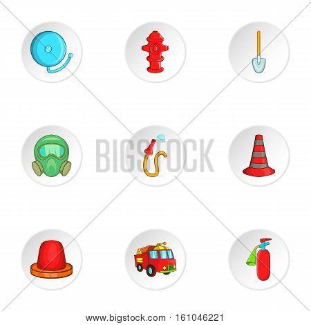 Fiery profession icons set. Cartoon illustration of 9 fiery profession vector icons for web