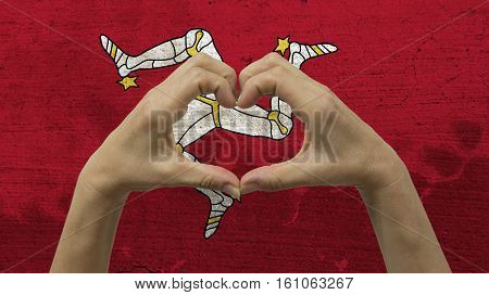 Hands Heart Symbol with Isle of Mann Flag
