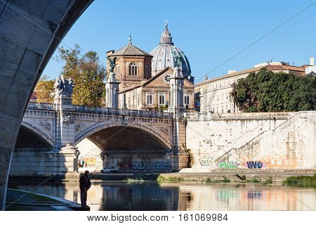 Tiber River And Bridge Ponte Vittorio Emanuele Ii