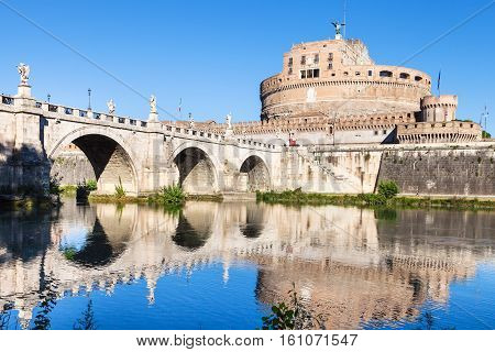 Castle Of The Holy Angel And Bridge In Rome City