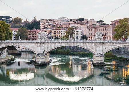 Bridge Ponte Vittorio Emanuele Ii In Evening