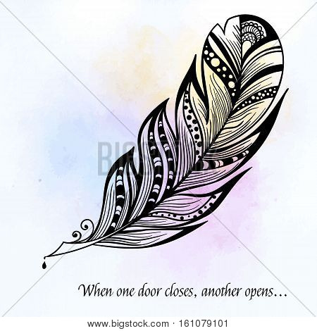 Vector hand-drawn black white decorative feather with typography. Vector illustration of plume for your design ready to use, on colorful background, Hand sketched plume