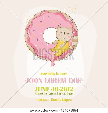 Baby Shower or Arrival Card - Baby Girl Cat - in vector