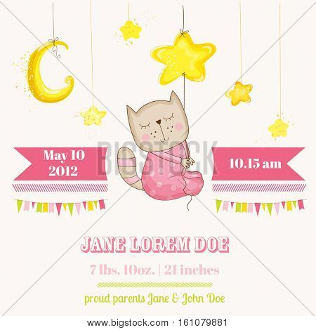Baby Girl Cat Sleeping on a Star - Baby Shower or Arrival Card - in vector