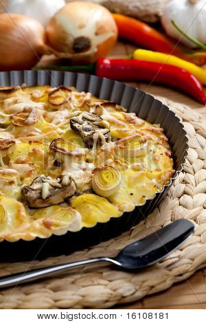 potato cake with champignons and leek
