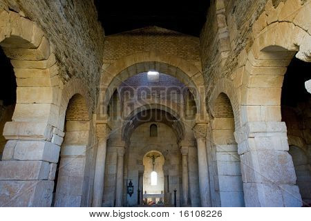 church's interior, San Pedro de la Nave, El Campillo, Zamora Province, Castile and Leon, Spain