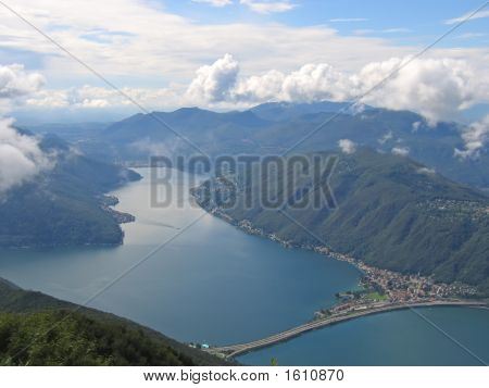Aerial View Of A Lake Between The Small Alps Mountains, Come Lake, Italia