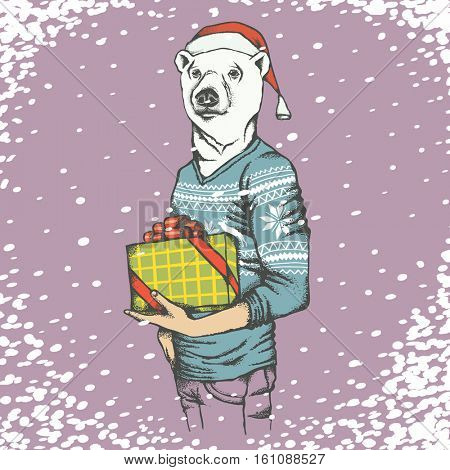 White polar bear vector illustration. Bear in human sweatshirt with gift and Christmas Santa hat on it