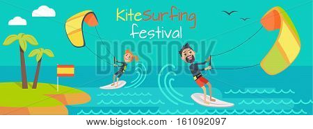 Kite surfing festival. Kitesurfing is style of kiteboarding specific to wave riding, surface water sport combining wakeboarding, windsurfing, surfing, paragliding, skateboarding and gymnastics in one.