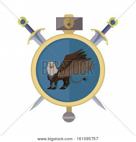 Griffin with axes, isolated avatar icon. Legendary creature with the body, tail, and back legs of a lion, head and wings of an eagle. Game object in flat design isolated on white background.