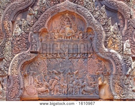 Detail Of Khmer Stone Carving For The Ramayana Legend Story, Preah Ko, Angkor Temples, Cambodgia