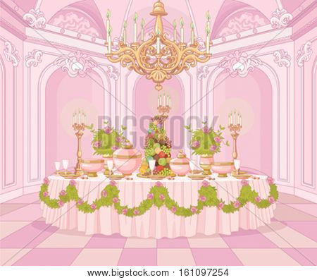 Served dining table in the dining room in princess palace
