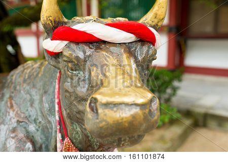 Ox statue in Dazaifu Tenmangu Shrine