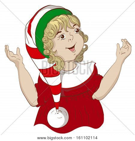 child dressed as Christmas elves a girl with curly hair elf hat