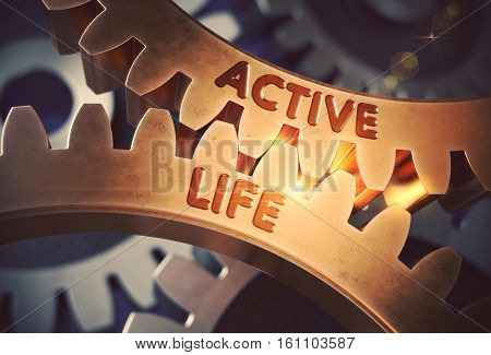 Active Life on Mechanism of Golden Metallic Cog Gears with Lens Flare. Active Life - Industrial Illustration with Glow Effect and Lens Flare. 3D Rendering.