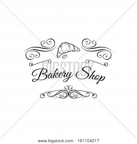 Croissant label. Baker Badge. Bakery Label. Decorated With filigree Curls, Curls Vector Illustration. Isolated On White Background