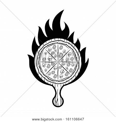 Pizza wooden peel label. Vector Illustration Isolated On White Background