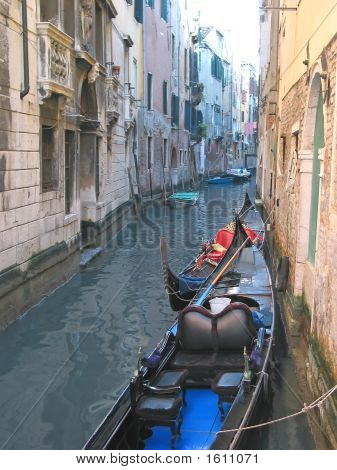 Gondola On A Small Water Canal, Venice, Italia