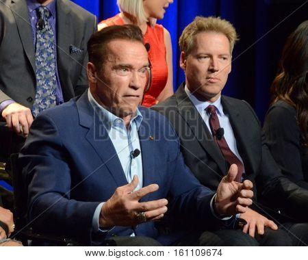 "LOS ANGELES - DEC 9:  Arnold Schwarzenegger, Patrick Schwarzenegger at the ""The New Celebrity Apprentice"" Cast Q&A at Universal Studios on December 9, 2016 in Los Angeles, CA"