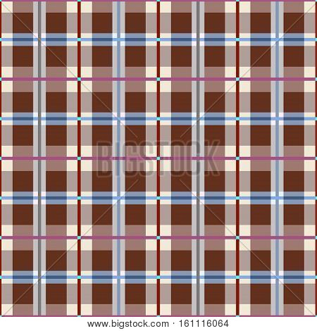 Plaid, seamless pattern, brown, vector.  Squares seamless background, green, vector. Brown-coffee squares and rectangles and a thin purple and blue lines on a light field. Colorful, geometric background.