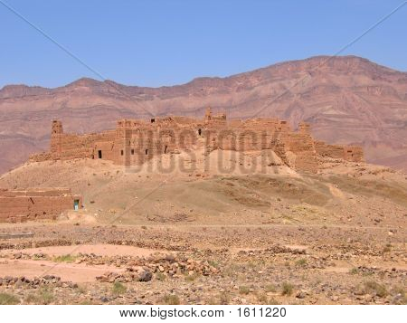 Old Fortress In The Desert With Mountains Behind, Zagora, Draa Valley, Morocco