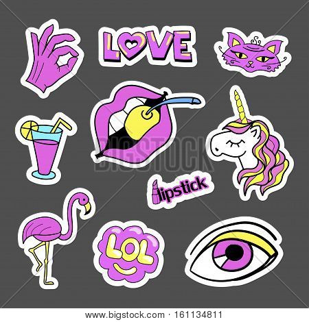 Fashion quirky cartoon doodle patch badges with cute elements. Set of stickers in comic style 80s 90s. Cats, palm, ice-cream, coctail. Eps 10