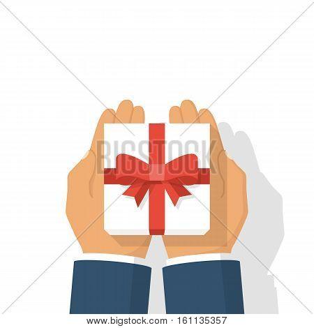 Gift White Box In Hand.