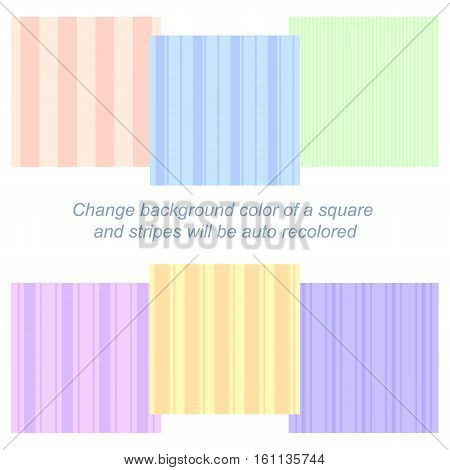 Set of six different seamless patterns with auto recoloring vertical stripes eps10 vector illustration