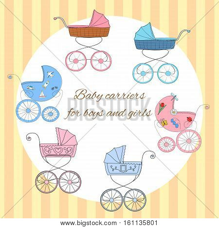 Set of six retro styled baby carriages colored pink for girls and blue for boys. Can be used for baby shower or arrival cards invitations or birthday greetings. Eps 10 vector illustration.
