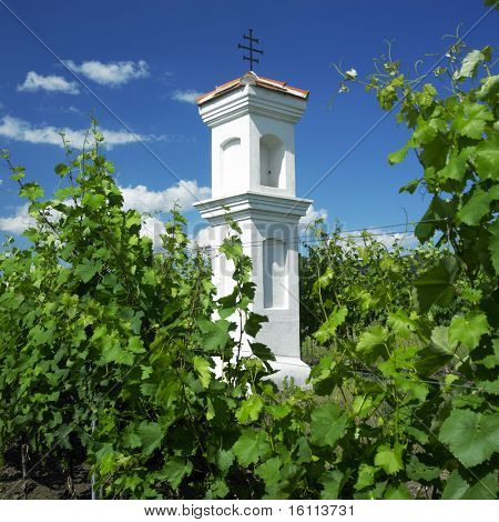 village chapel with wineyard near Perna, Czech Republic