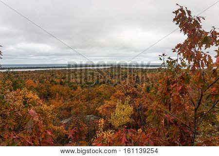 A view of an autumn forest and Lake Superior from Thomas Rock, Marquette County, Michigan, USA