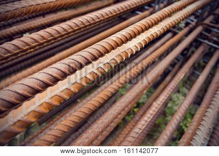 steel poles for construction outdoor photo stock