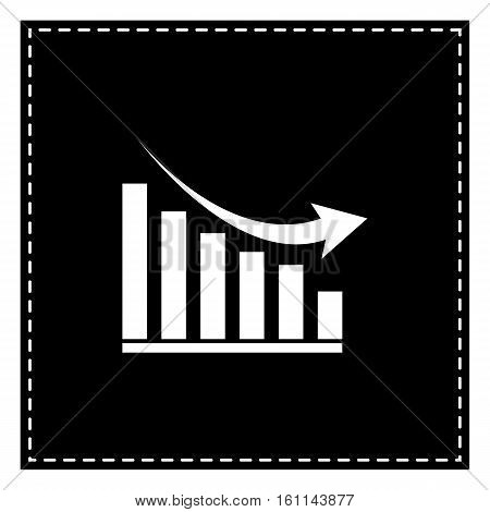 Declining Graph Sign. Black Patch On White Background. Isolated.