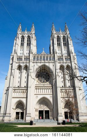 Washington National Cathedral is located in Washington D.C. USA and is on the National Register of Historic Places.