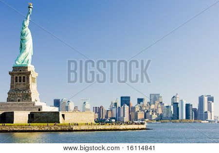 Statue of Liberty and Manhattan, New York City, USA
