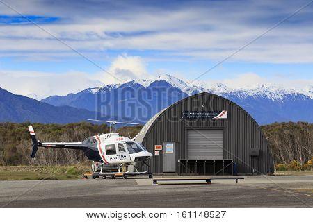 HOKITIKA NEWE ZEALAND-SEPTEMBER 3 : anderson helicopter parking in hokitika airport important town of west coast on september 3 2015 in hokitika New Zealand