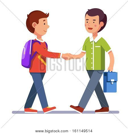 Two boys standing and shaking hands making peace or new acquaintance. School friendship. Colorful flat style cartoon vector illustration.