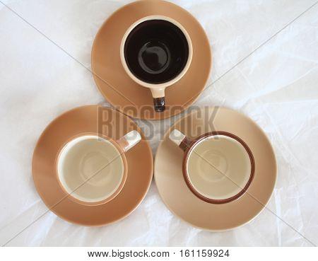 Three empty coffee espresso cups. Top view
