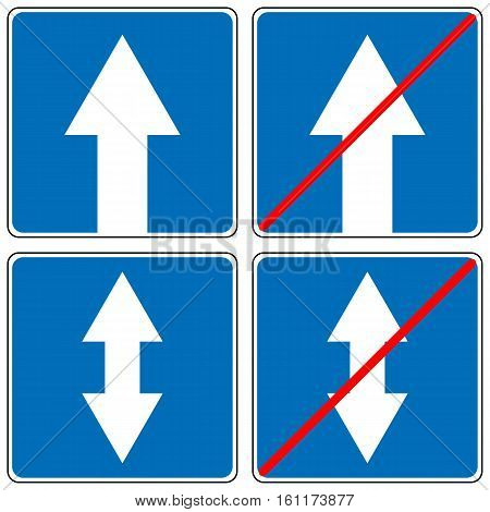 Ahead Only, one way traffic sign, Drive Straight Arrow Traffic Vector illustrations. Set of arrow road signs