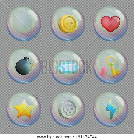 Realistic 3d soap water or oxygen bubbles with bonus treasure items inside, for space, underwater and other scenes. Game and app ui icons.