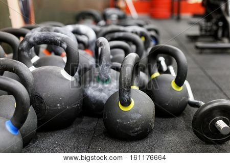 Close Up Heap Of Dumbbells In The Gym.