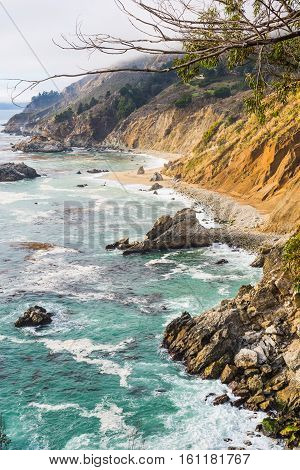 Rocky shore in Big Sur in California
