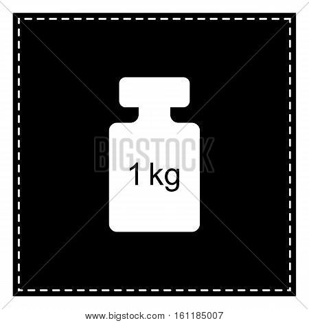 Weight Simple Sign. Black Patch On White Background. Isolated.