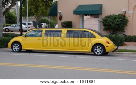Yellow Limousine In The Shape Of A Bug